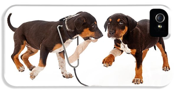 Hospital iPhone 5 Cases - Puppy Veterinarian and Patient iPhone 5 Case by Susan  Schmitz