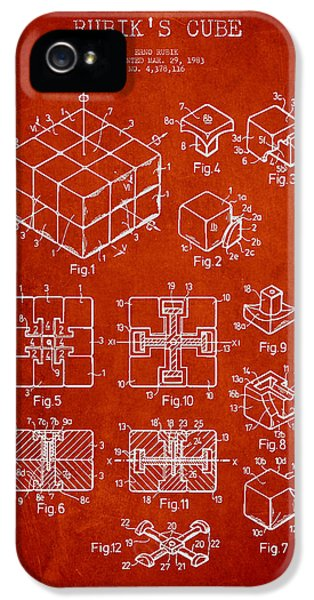 Puzzles iPhone 5 Cases - Rubiks Cube Patent iPhone 5 Case by Aged Pixel
