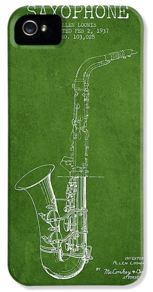 Saxophone Patent Drawing From 1937 - Green IPhone 5 / 5s Case by Aged Pixel