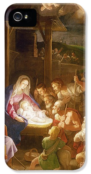 Happy Jesus iPhone 5 Cases - The Adoration of the Shepherds iPhone 5 Case by Guido Reni
