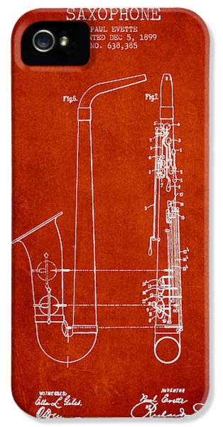 Saxophone Patent Drawing From 1899 - Red IPhone 5 / 5s Case by Aged Pixel