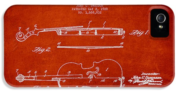 Vintage Violin Patent Drawing From 1928 IPhone 5 / 5s Case by Aged Pixel