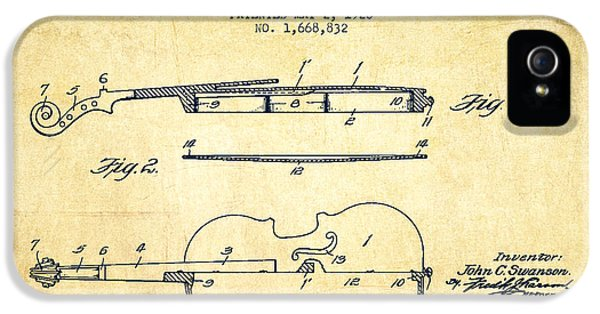Violin Patent Drawing From 1928 IPhone 5 / 5s Case by Aged Pixel