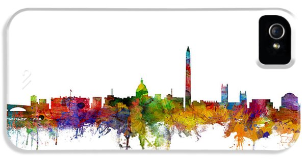 Dc iPhone 5 Cases - Washington DC Skyline iPhone 5 Case by Michael Tompsett