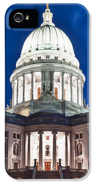 Night iPhone 5 Cases - Wisconsin State Capitol Building at Night iPhone 5 Case by Sebastian Musial