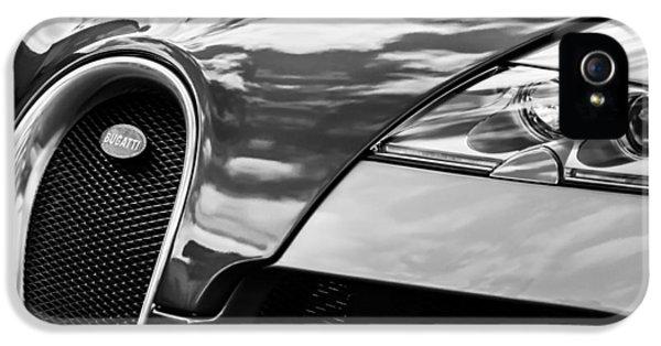 Bugatti Classic Car iPhone 5 Cases - 2008 Bugatti Veyron Grille Emblem -0621bw iPhone 5 Case by Jill Reger