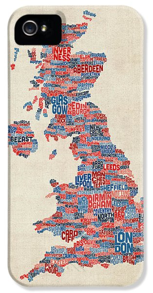 England iPhone 5 Cases - Great Britain UK City Text Map iPhone 5 Case by Michael Tompsett