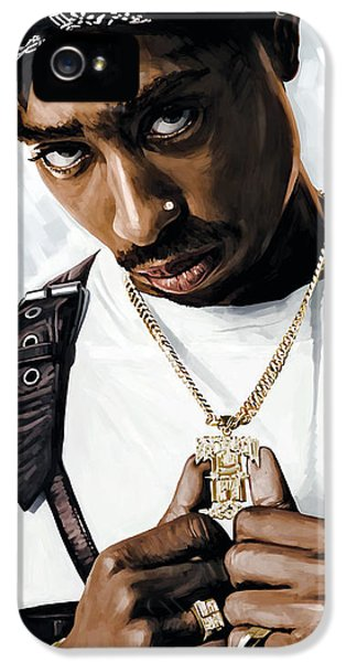 Hip Hop iPhone 5 Cases - 2Pac Tupac Shakur Artwork  iPhone 5 Case by Sheraz A