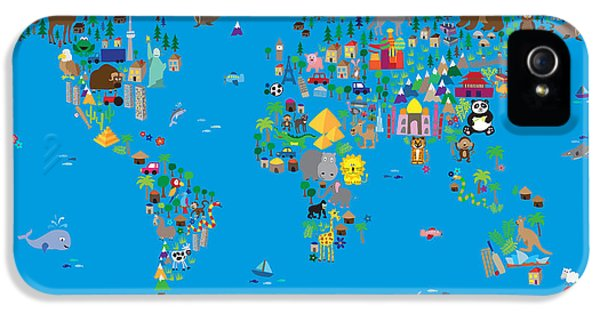 World Map iPhone 5 Cases - Animal Map of the World for children and kids iPhone 5 Case by Michael Tompsett