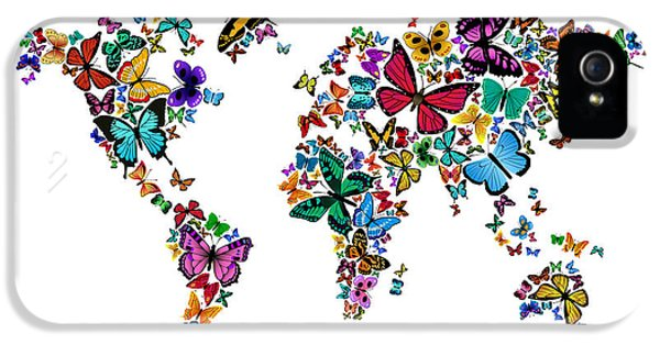 World Map iPhone 5 Cases - Butterflies Map of the World iPhone 5 Case by Michael Tompsett