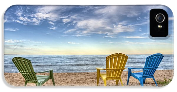 Lake Michigan iPhone 5 Cases - 3 Chairs iPhone 5 Case by Scott Norris