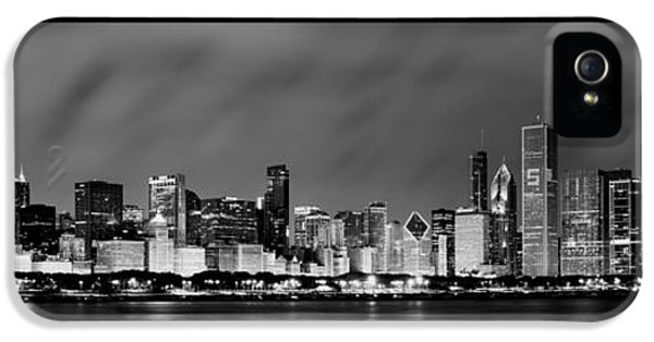 Sears Tower iPhone 5 Cases - Chicago Skyline at Night in Black and White iPhone 5 Case by Sebastian Musial