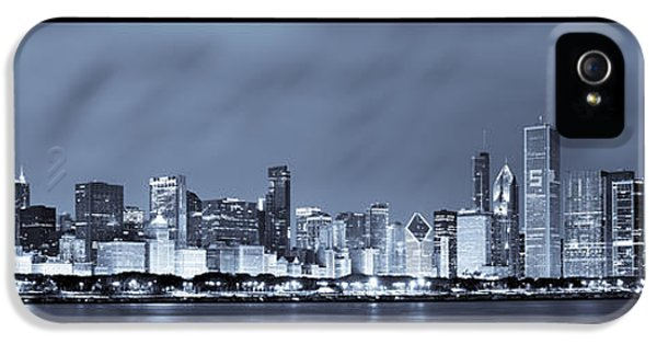 Navy iPhone 5 Cases - Chicago Skyline at Night iPhone 5 Case by Sebastian Musial