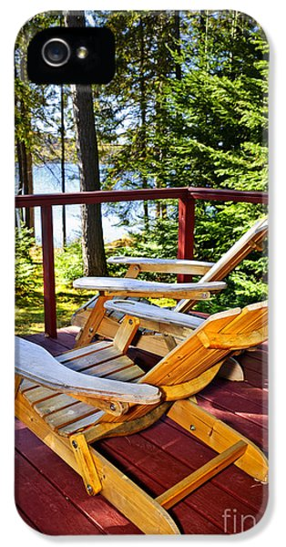 Porch iPhone 5 Cases - Forest cottage deck and chairs iPhone 5 Case by Elena Elisseeva