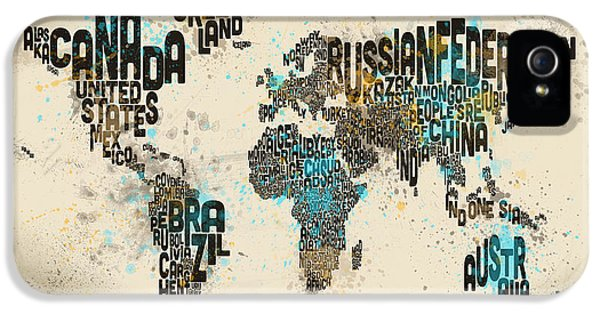 World Map iPhone 5 Cases - Paint Splashes Text Map of the World iPhone 5 Case by Michael Tompsett