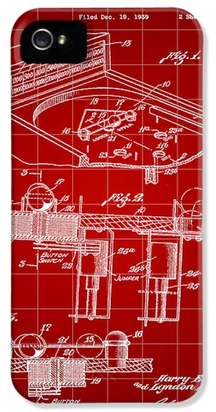Pinball Machine Patent 1939 - Red IPhone 5 / 5s Case by Stephen Younts