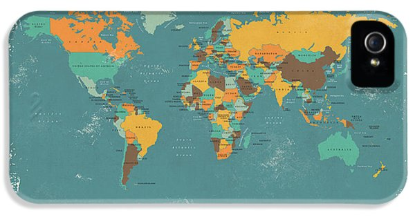 Atlas iPhone 5 Cases - Retro Political Map of the World iPhone 5 Case by Michael Tompsett
