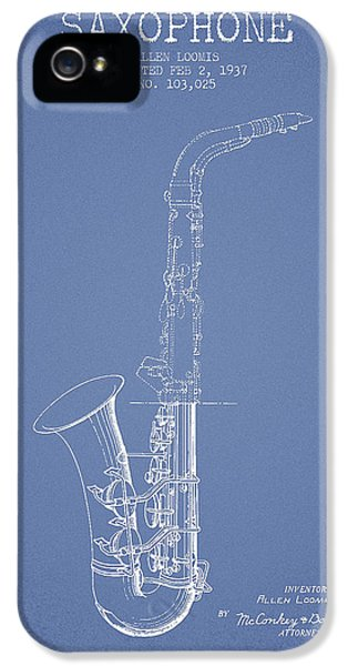 Saxophone Patent Drawing From 1937 - Light Blue IPhone 5 / 5s Case by Aged Pixel