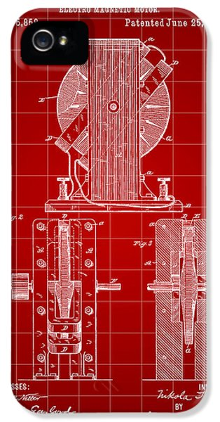 Conducting iPhone 5 Cases - Tesla Electro Magnetic Motor Patent 1889 - Red iPhone 5 Case by Stephen Younts