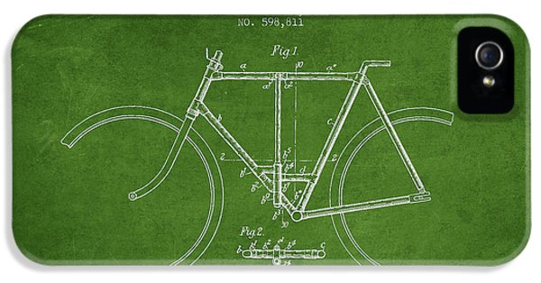 Bicycle iPhone 5 Cases - Vintage Folding Bicycle patent from 1898 iPhone 5 Case by Aged Pixel