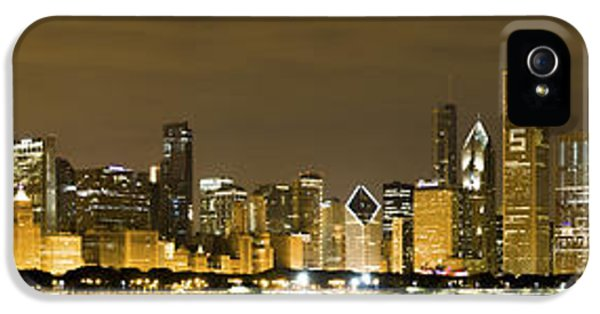 Pier iPhone 5 Cases - Chicago Skyline at Night iPhone 5 Case by Sebastian Musial