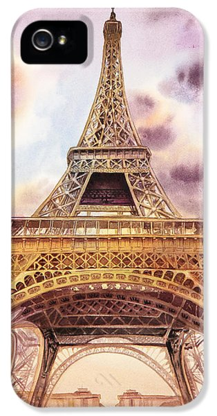 Dramatic Skies iPhone 5 Cases - Eiffel Tower Paris France iPhone 5 Case by Irina Sztukowski