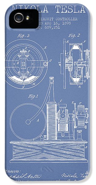 Circuits iPhone 5 Cases - Nikola Tesla Electric Circuit Controller Patent Drawing From 189 iPhone 5 Case by Aged Pixel