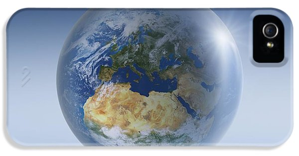 Anti-gravity iPhone 5 Cases - Earth Globe, Artwork iPhone 5 Case by Detlev van Ravenswaay