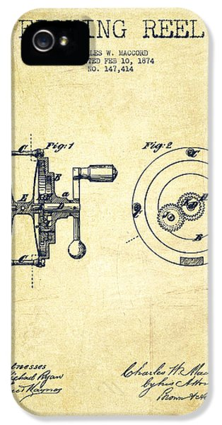 Fishing iPhone 5 Cases - Fishing Reel Patent from 1874 iPhone 5 Case by Aged Pixel
