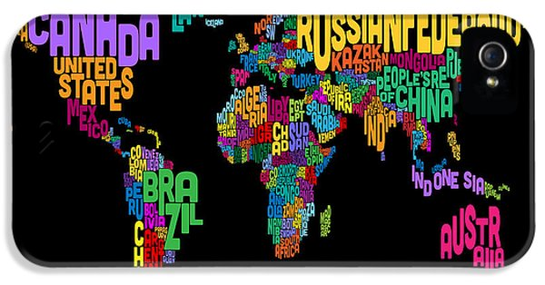 World Map iPhone 5 Cases - Text Map of the World Map iPhone 5 Case by Michael Tompsett