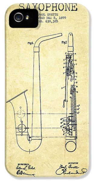Saxophone Patent Drawing From 1899 - Vintage IPhone 5 / 5s Case by Aged Pixel