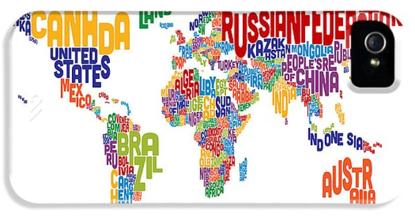 World Map iPhone 5 Cases - Text Map of the World iPhone 5 Case by Michael Tompsett
