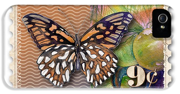 Mexican iPhone 5 Cases - 9 Cent Butterfly Stamp iPhone 5 Case by Amy Kirkpatrick