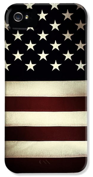 Closeup iPhone 5 Cases - American flag iPhone 5 Case by Les Cunliffe