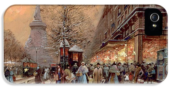 Old Tram iPhone 5 Cases - A Busy Boulevard near the Place de la Republique Paris iPhone 5 Case by Eugene Galien-Laloue