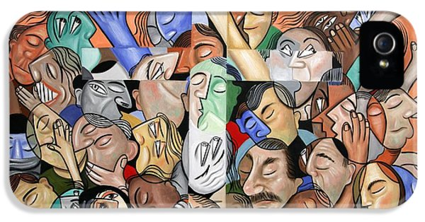 Holy Spirit iPhone 5 Cases - A Cubist Prayer One World One God iPhone 5 Case by Anthony Falbo