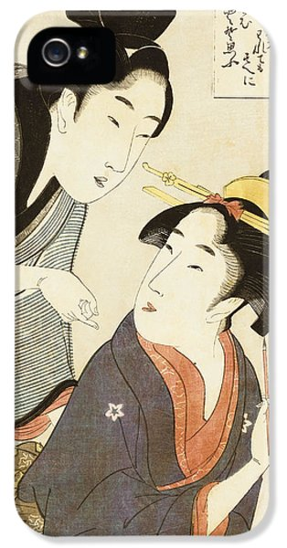 Male iPhone 5 Cases - A Double Half Length Portrait of a Beauty and her Admirer  iPhone 5 Case by Kitagawa Utamaro