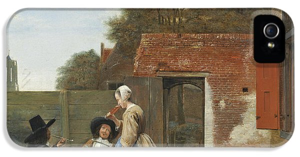 Pipes iPhone 5 Cases - A Dutch Courtyard, C.1658-60 Oil On Canvas iPhone 5 Case by Pieter de Hooch