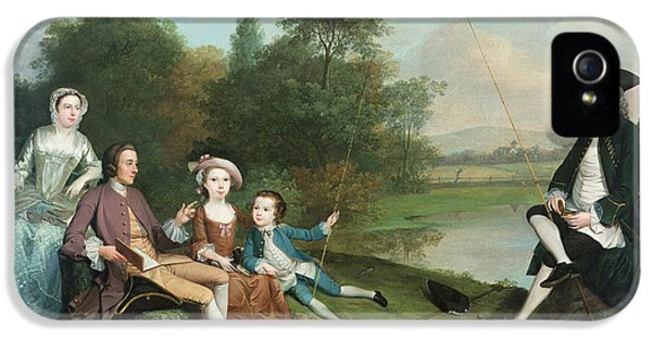 Social History iPhone 5 Cases - A Family Of Anglers, 1749 Oil On Canvas iPhone 5 Case by Arthur Devis