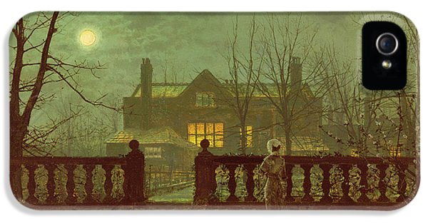 Haunted Houses iPhone 5 Cases - A Lady In A Garden By Moonlight iPhone 5 Case by John Atkinson Grimshaw