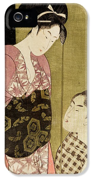 Painter iPhone 5 Cases - A Man Painting A Woman Woodblock Print iPhone 5 Case by Kitagawa Utamaro
