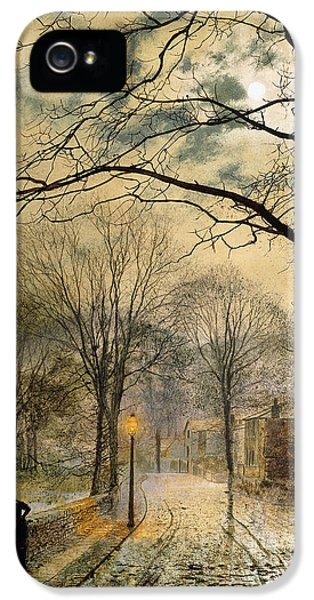 Solar System iPhone 5 Cases - A Moonlit Stroll Bonchurch Isle of Wight iPhone 5 Case by John Atkinson Grimshaw