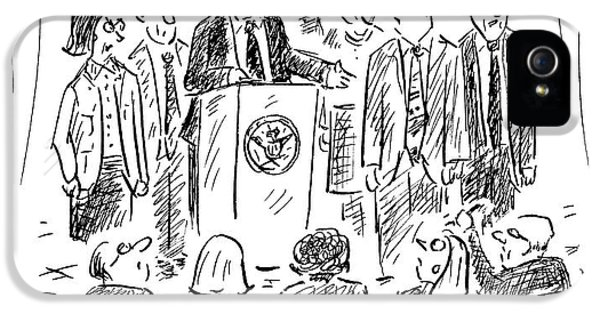 A Politician Speaks At A Podium IPhone 5 / 5s Case by David Sipress