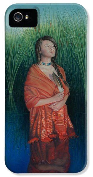Native American Woman iPhone 5 Cases - A Prayer for the Waters iPhone 5 Case by Holly Kallie