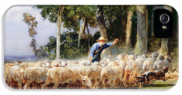 Ewe iPhone 5 Cases - A Shepherd With A Flock Of Sheep iPhone 5 Case by Charles Emile Jacques
