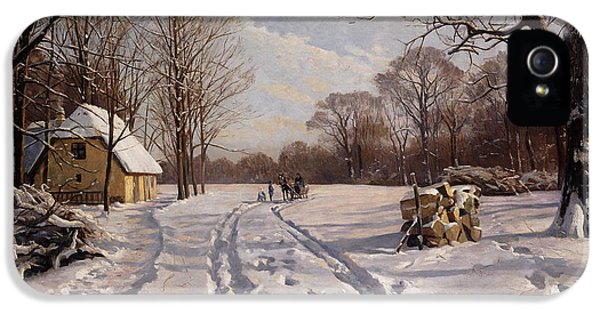 Danish iPhone 5 Cases - A Sleigh Ride through a Winter Landscape iPhone 5 Case by Peder Monsted