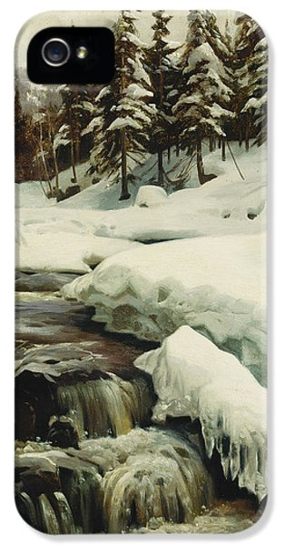 Danish iPhone 5 Cases - A Winter Landscape with a Mountain Torrent iPhone 5 Case by Peder Monsted