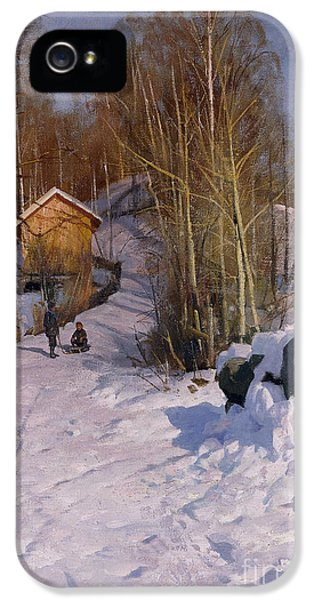 Boys Only iPhone 5 Cases - A Winter Landscape with Children Sledging iPhone 5 Case by Peder Monsted