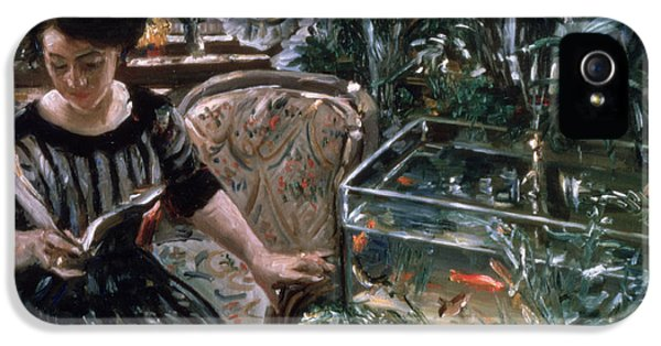 Net iPhone 5 Cases - A Woman Reading near a Goldfish Tank iPhone 5 Case by Lovis Corinth