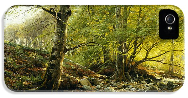 Danish iPhone 5 Cases - A Wooded River Landscape iPhone 5 Case by Peder Monsted